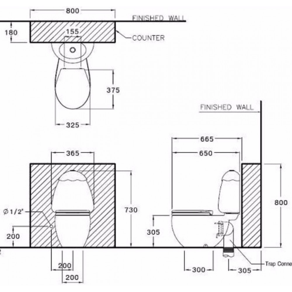 Bản vẽ kỹ thuật bồn cầu Cotto C15007