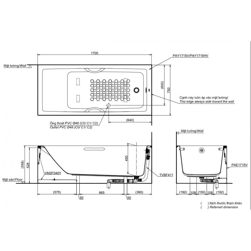 Bản vẽ kỹ thuật bồn tắm TOTO PAY1715VC-TBVF411