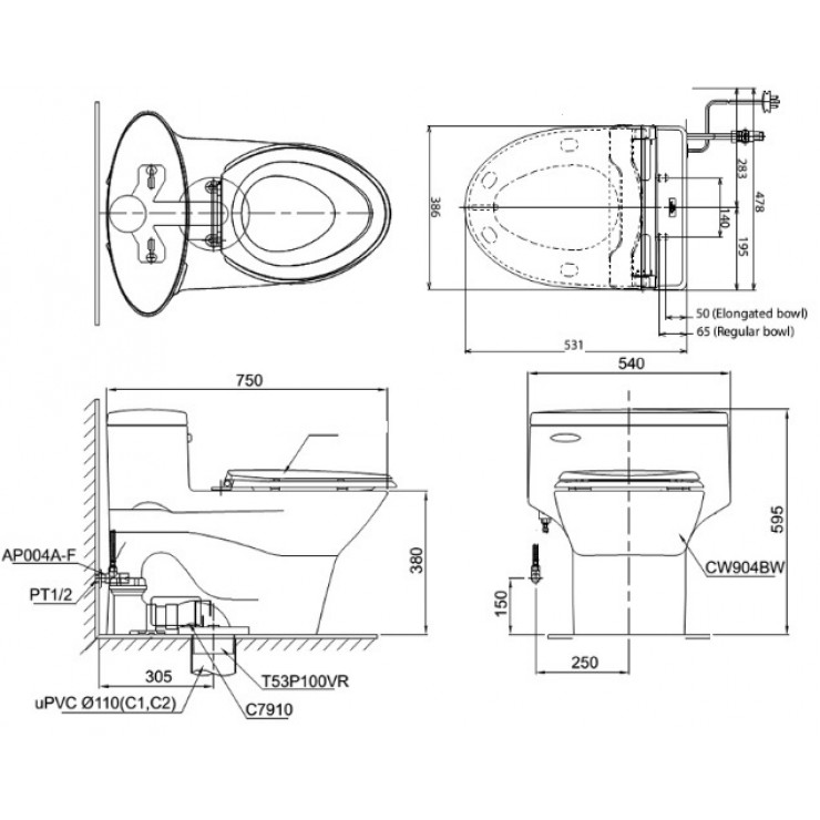 bản vẽ bồn cầu nắp điện tử TOTO MS904W6