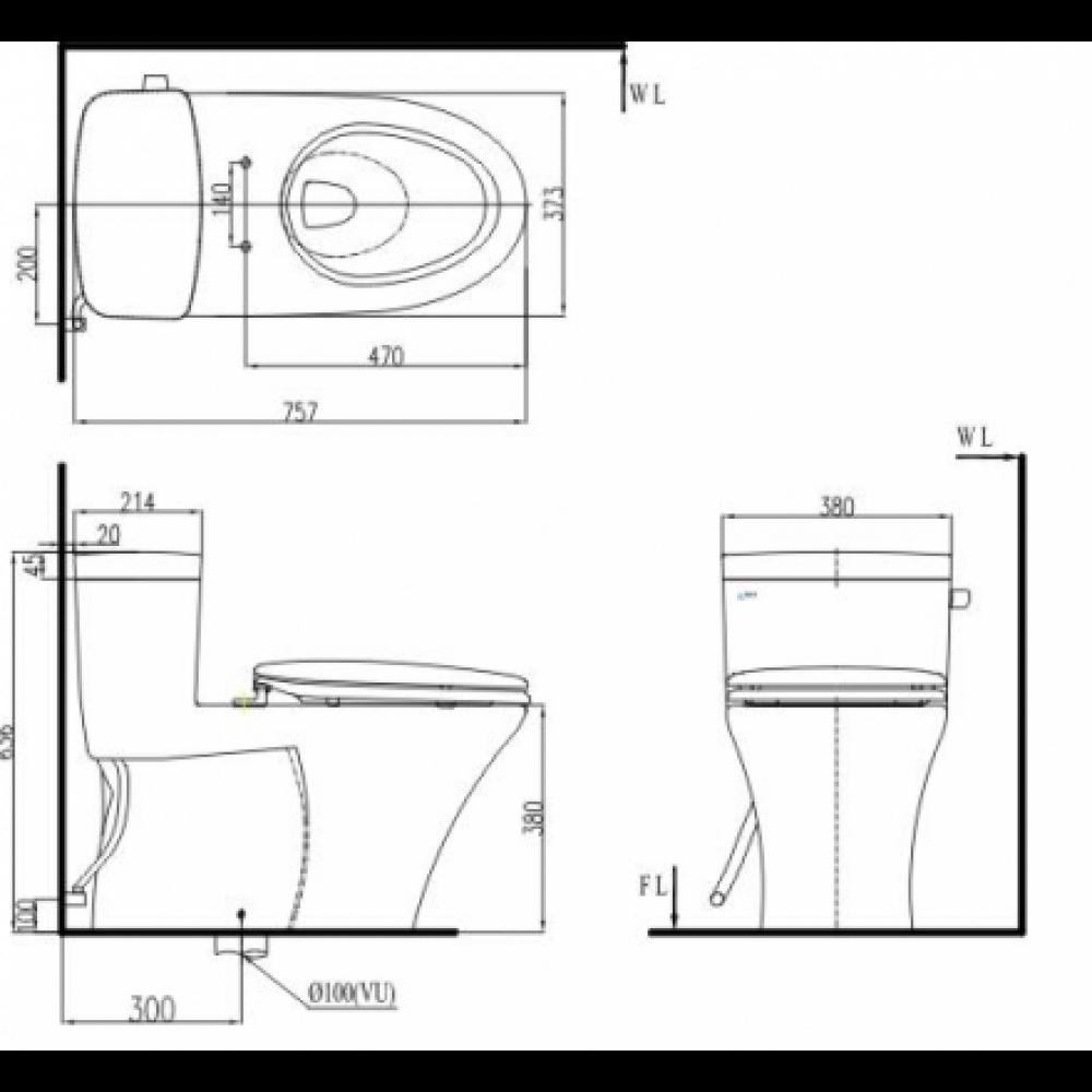 Bản vẽ bồn cầu Inax AC-991VRN - Xí bệt bàn cầu vệ sinh 1 khối