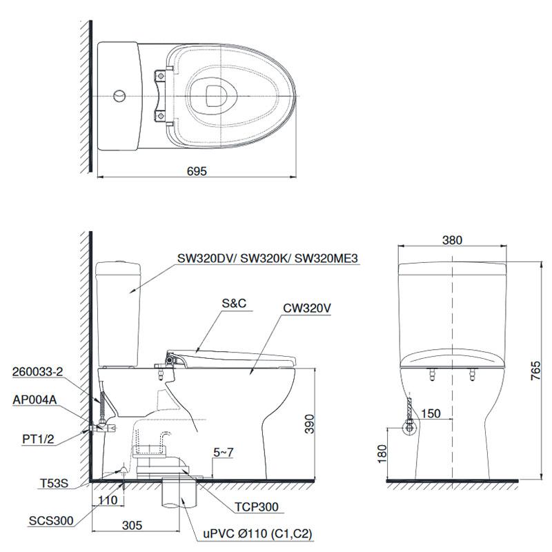 Bản vẽ kỹ thuạt bồn cầu TOTO CS320DRE4