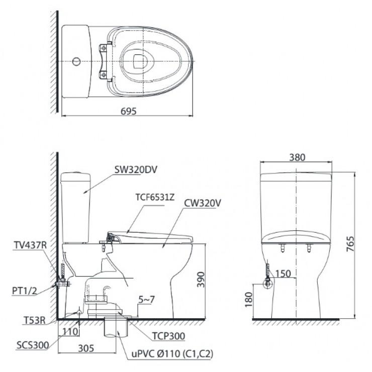 Bản vẽ kỹ thuật xí bệt TOTO CS320DRT2