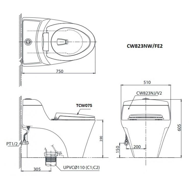 bản vẽ bồn cầu TOTO MS366E2 nắp rửa cơ
