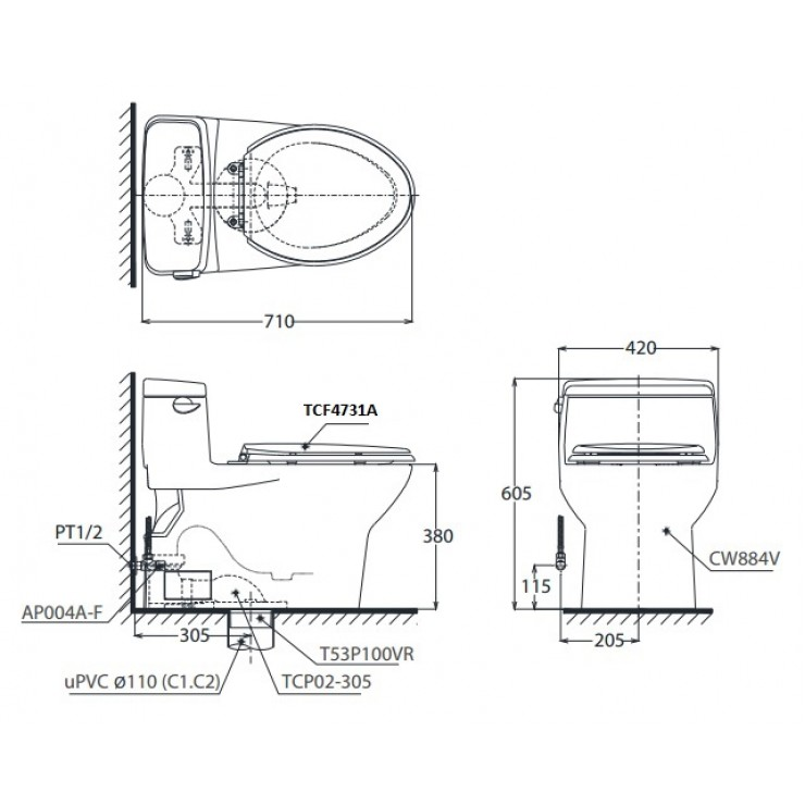Bản vẽ bồn cầu TOTO MS884T2 - Xí bệt bàn cầu vệ sinh 1 khối nắp êm