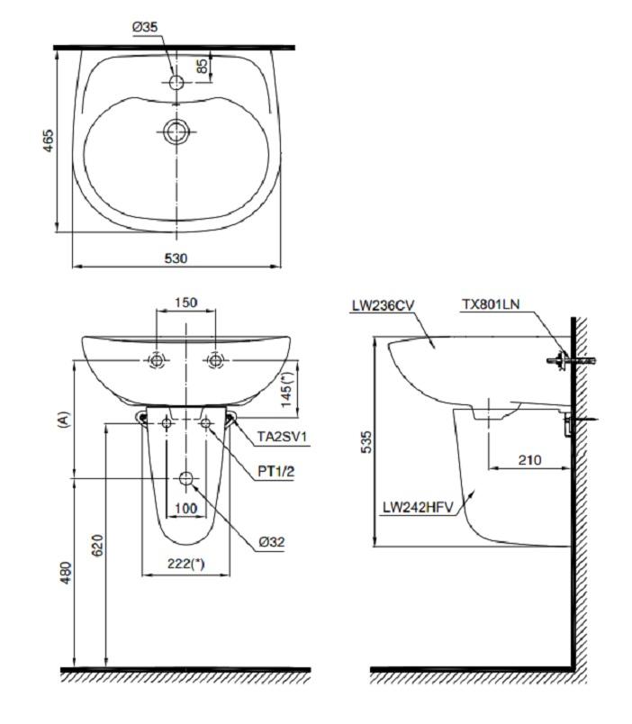 Bản vẽ bồn rửa mặt lavabo TOTO LHT236CR