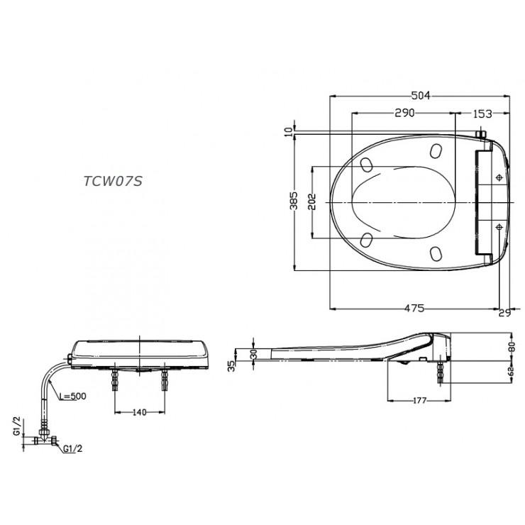 Bản vẽ kỹ thuật nắp rửa cơ TOTO TCW07S