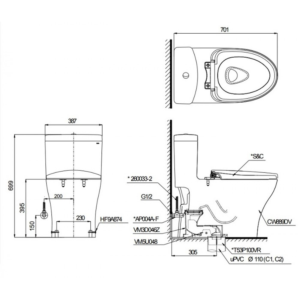 bản vẽ bồn cầu TOTO MS889DE2 nắp rửa cơ