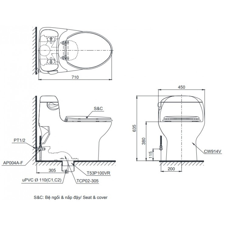 Bản vẽ kỹ thuật xí bệt TOTO MS914T8