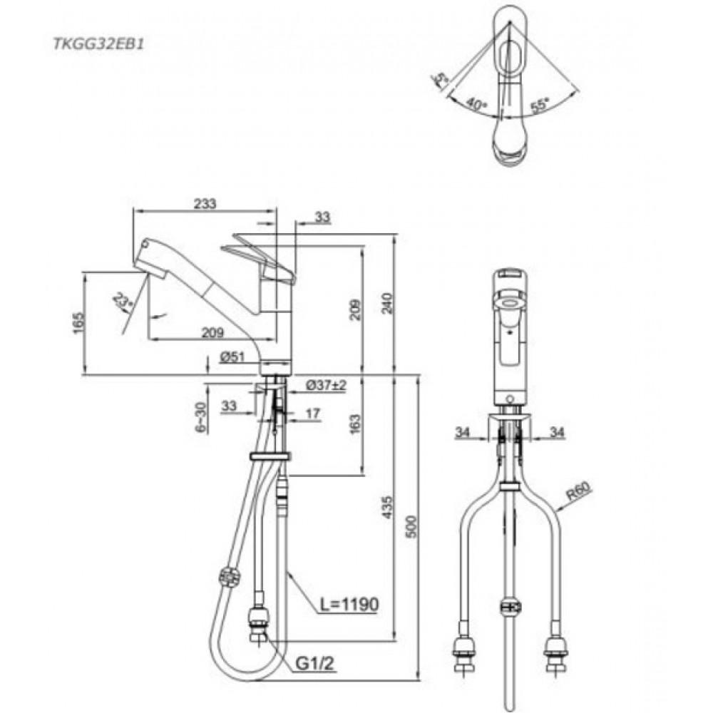 Bản vẽ kỹ thuật vòi rửa bát TOTO TKGG32EB1