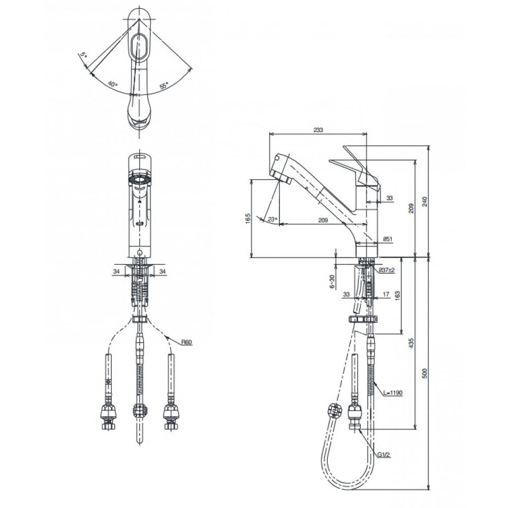 Bản vẽ kỹ thuật vòi rửa bát TOTO TKGG32EBR
