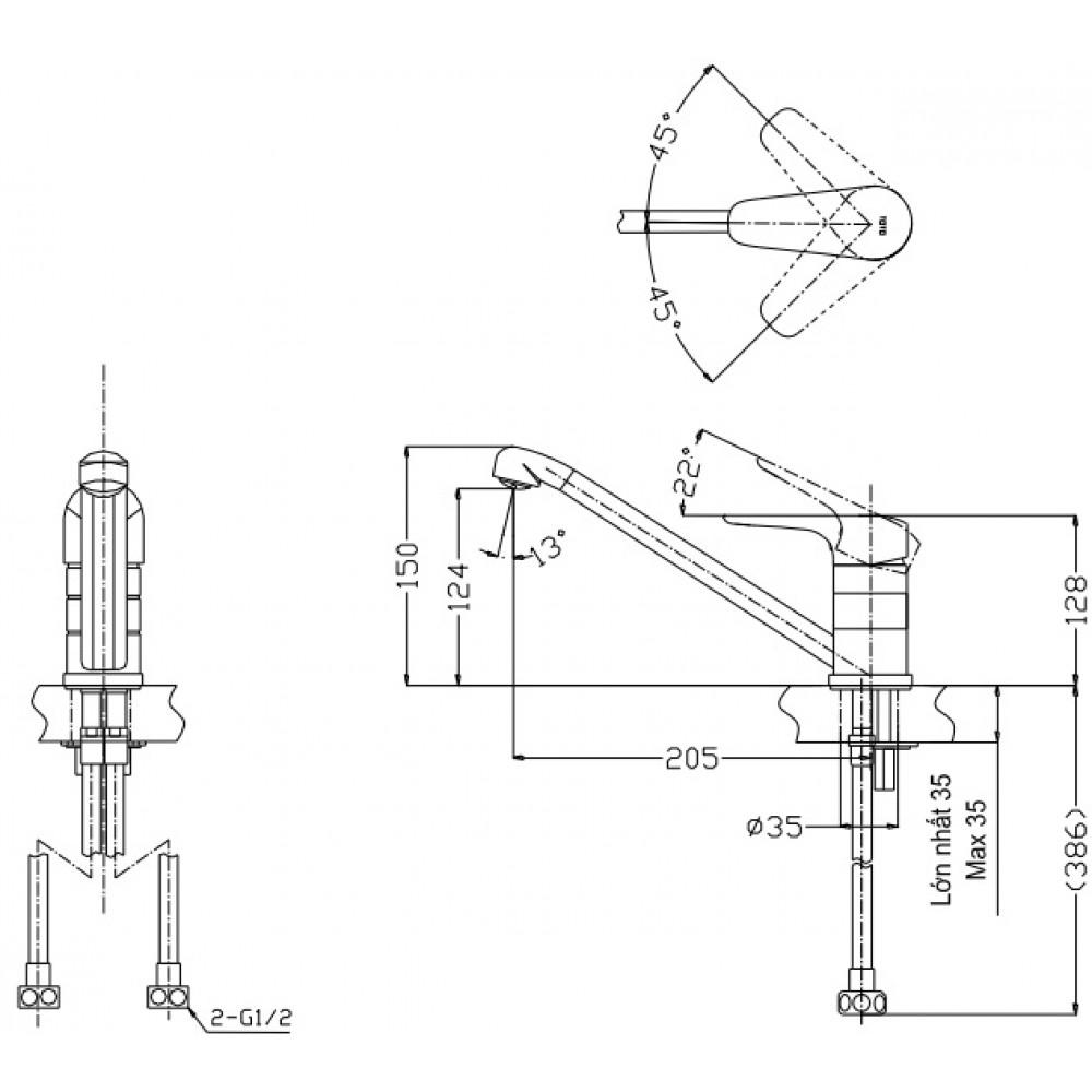 Bản vẽ vòi bếp nóng lạnh TTKC301F TOTO