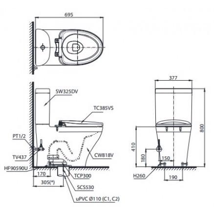 Bản vẽ kỹ thuật xí bệt TOTO CS818DT2
