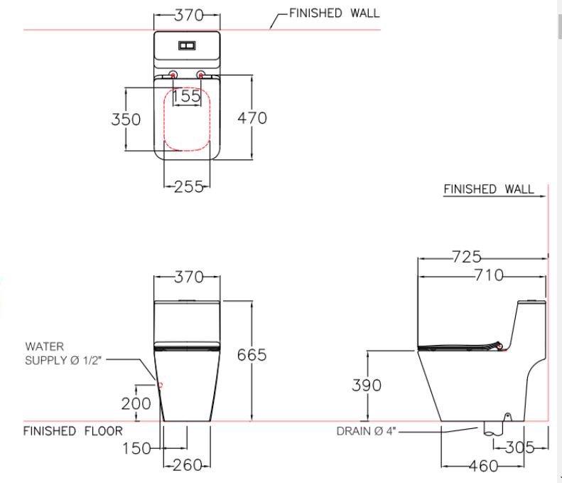 Bản vẽ kỹ thuật bồn cầu C10327 Cotto