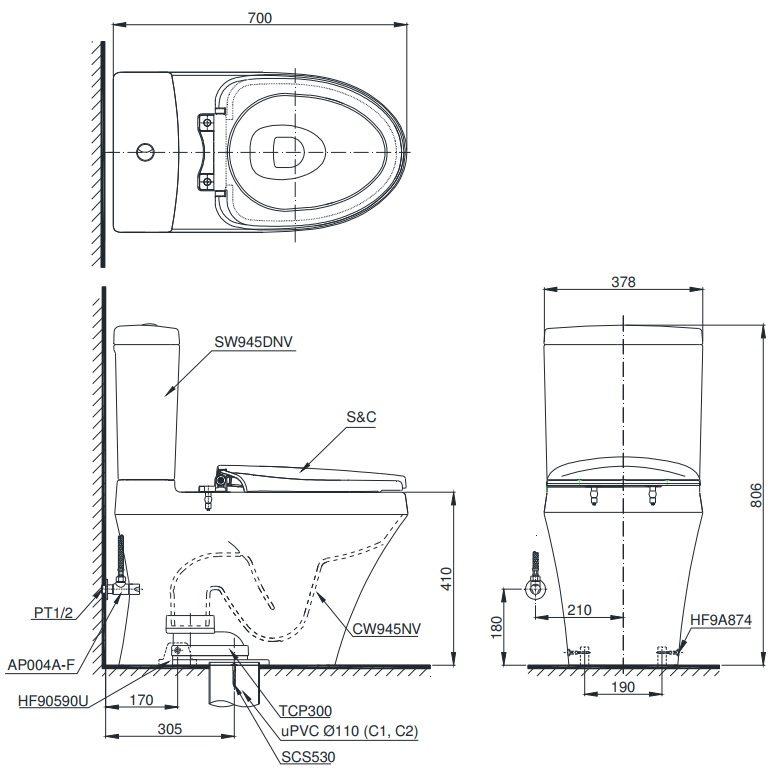 bản vẽ bồn cầu nắp điện tử TOTO CS945DW11
