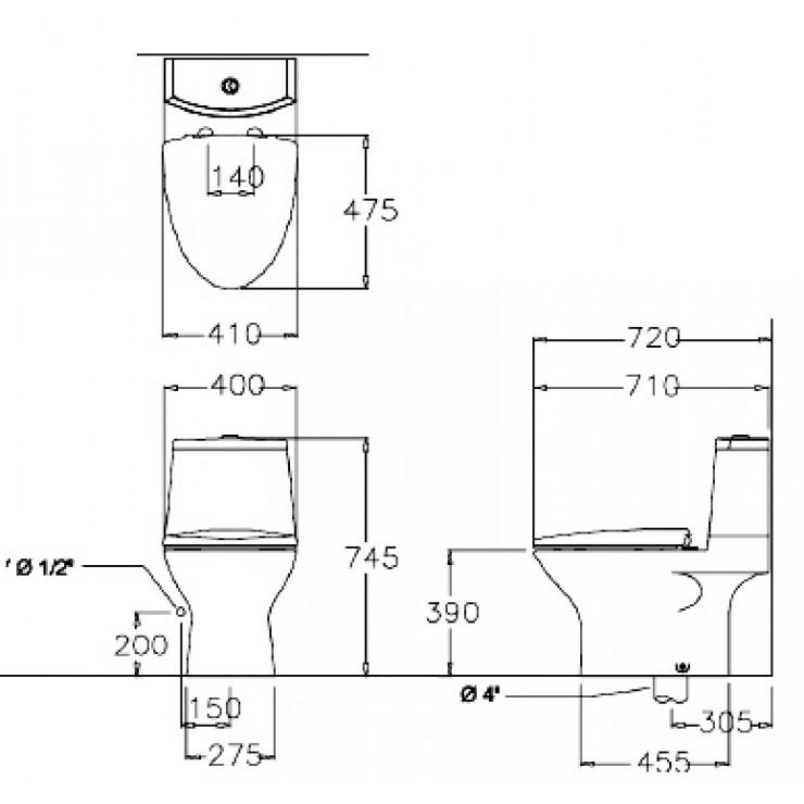 Bản vẽ kỹ thuật bồn cầu Cotto C12377
