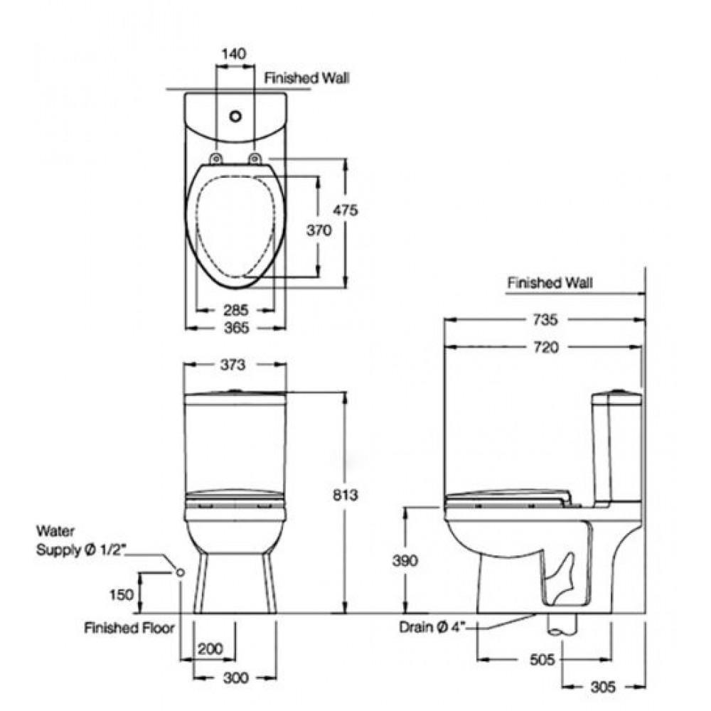 Bản vẽ kỹ thuật bồn cầu Cotto C1391VN