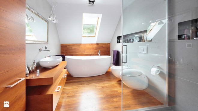 Phòng tắm kiểu giả gỗ