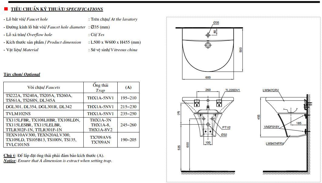 Bản vẽ kỹ thuật lavabo rửa mặt LHT947CR