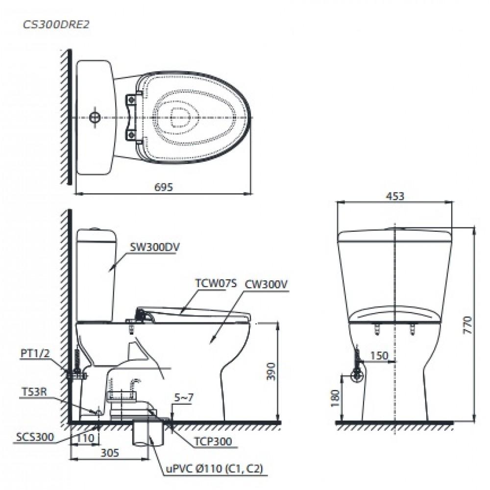 bản vẽ bồn cầu TOTO CS300DRE2 nắp rửa cơ