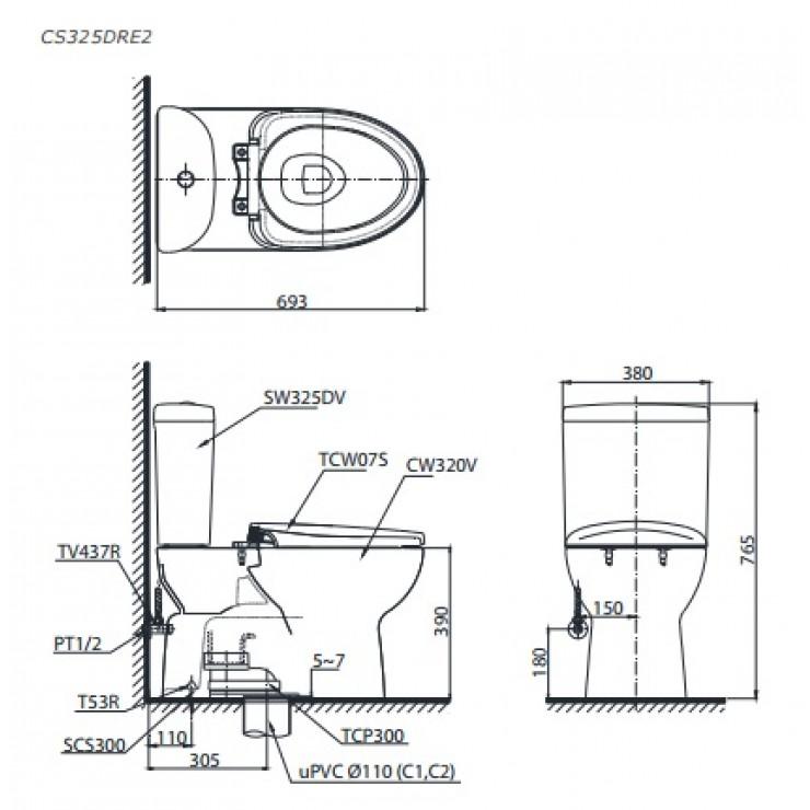 bản vẽ bồn cầu TOTO CS325DRE2 nắp rửa cơ