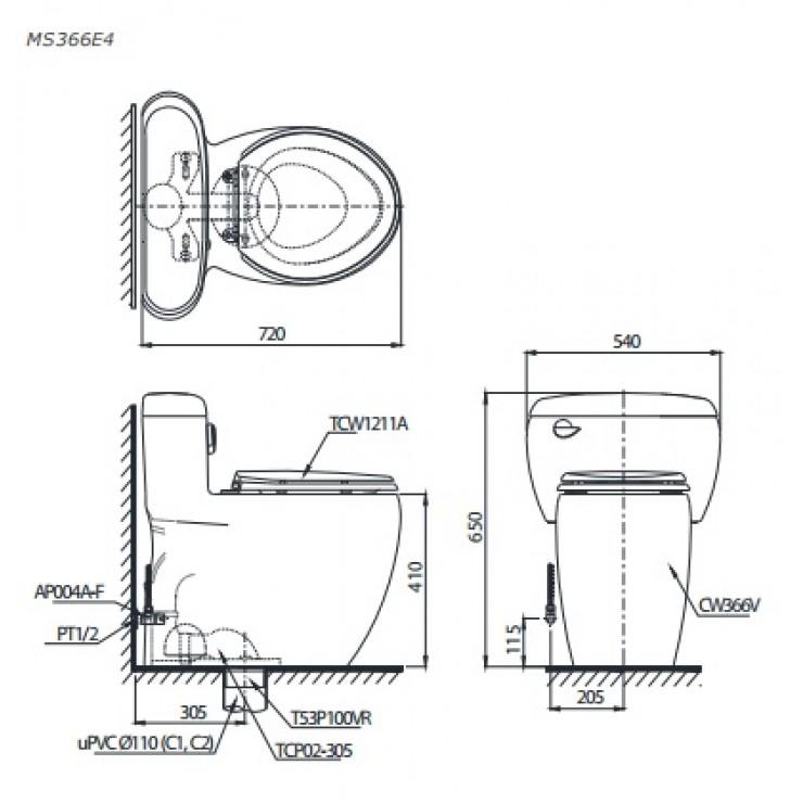 Bản vẽ kỹ thuật bồn cầu MS366