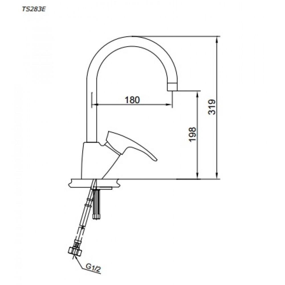 Bản vẽ vòi bếp nóng lạnh TS283E TOTO